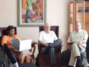 Keisha Brooks, Dwight Armstrong, and Dick Buten at board meeting in Tegucigalpa.
