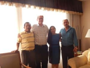 Miguel Bautista (Mayor of San Marcos), Wayne Waite, Profe Iris Villanueva, and Julio Villanueva (Mayor of Camasca).