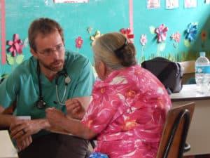 Dr. Kyle with a patient