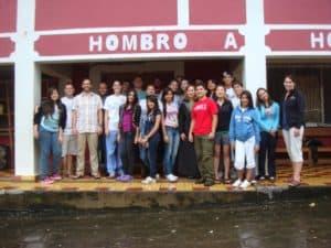 The group outside the Santa Lucia clinic